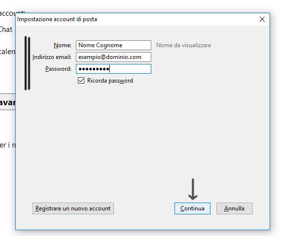 configurazione account thunderbird