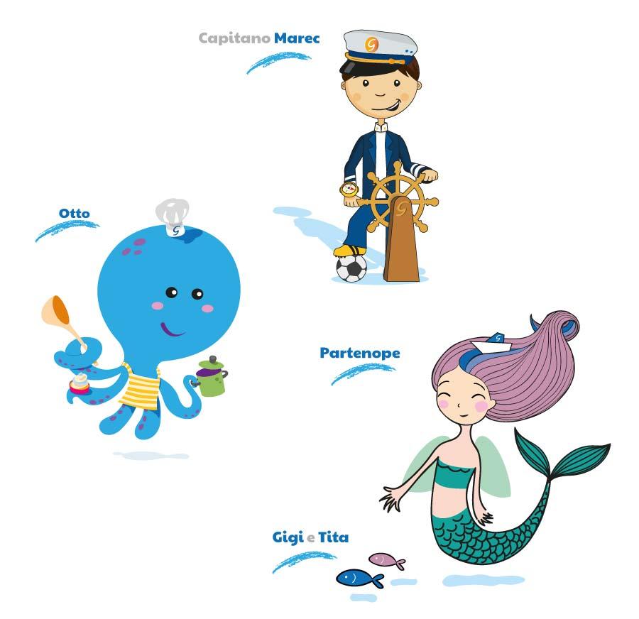 illustrazioni mascotte grimaldi lines