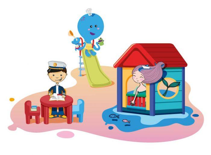 illustrazioni mascotte grimaldi lines giochi