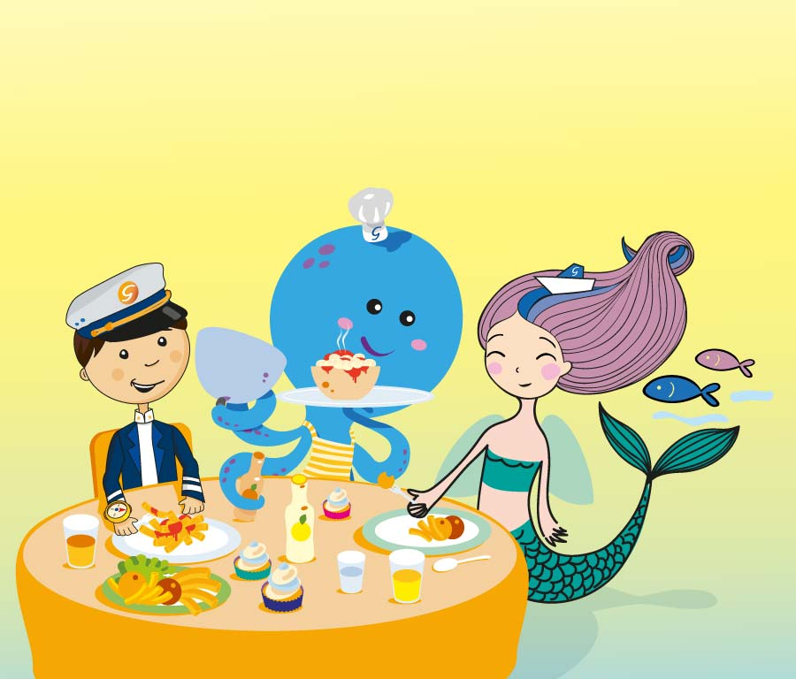 illustrazioni mascotte grimaldi lines cena